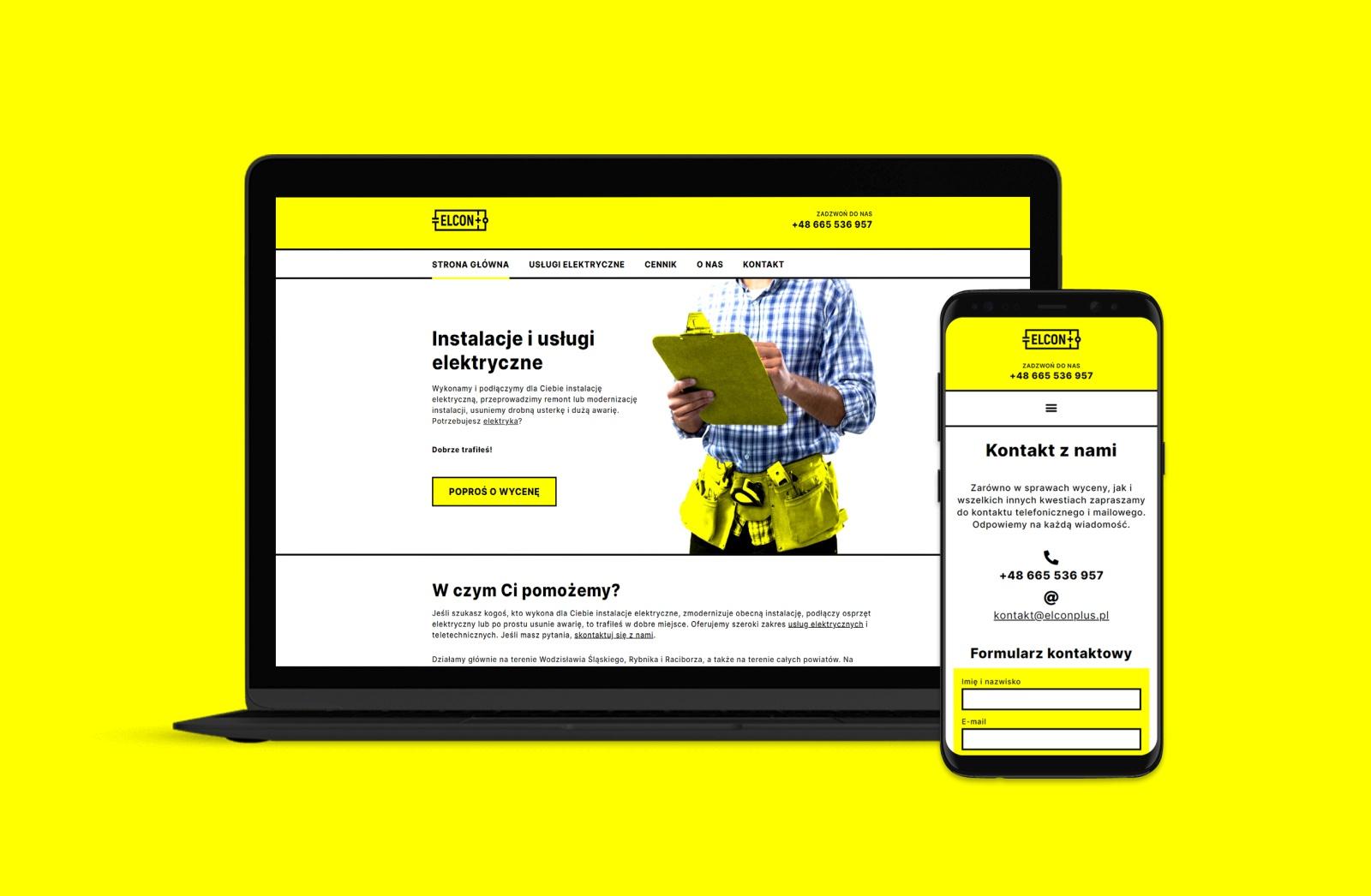 elcon plus strona internetowa firmy elektrycznej
