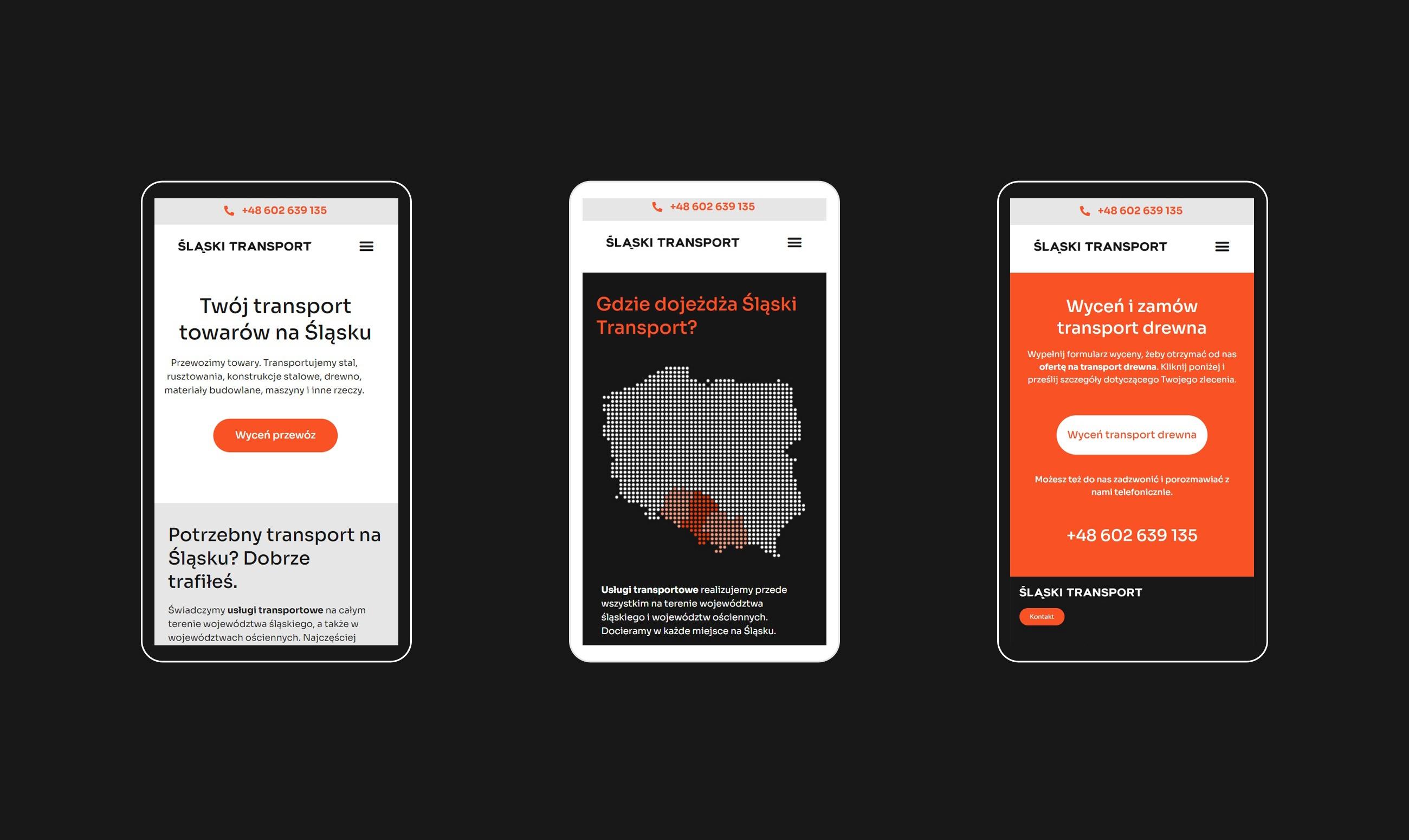Strona internetowa Śląski Transport - wersja mobilna